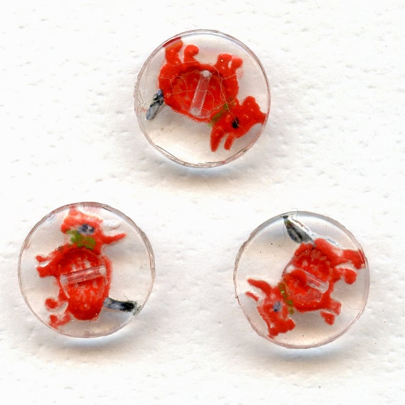 SCOTTIE DoGS Buttons Matching Set of 3 Vintage RED Reverse Painted Clear Glass    SCOTTY  9/16 Inch Size 7524