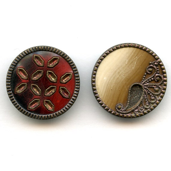 Victorian Celluloid Buttons Stunning Pair of  Antique   Metal  Stick Up Red and Paisley with Fabric Background   Lovely  1 1/4 inch  7535