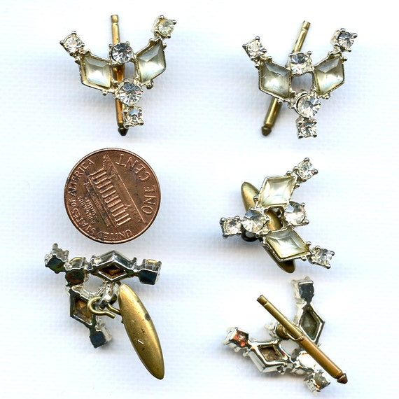 Rhinestone CUFF LINKS and Shirt STUDS or Buttons 5 in the lot 7830