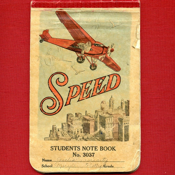 Vintage SPEED Students Notebook Airplane Filled with Botanical Notes