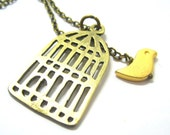 """Tweety in a Cage Necklace // Brass Cage and Bird Charm // Illusion of Bird in Cage // 17"""" Brass Chain // Last Piece"""