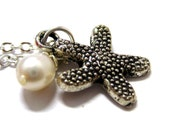 """Starfish Snow Drop Necklace // Silver Starfish Charm // White Freshwater Pearls // 17"""" Silver Chain Necklace // Bridal Gifts"""
