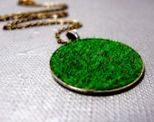 """A Piece of Meadow Necklace // Artificial Green Grass Pendant // Born Free // 17"""" Brass Chain // Gift under 25"""