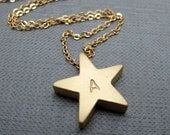 "Name a Gold Star Necklace // Personalised Matte Gold Star // 17"" Gold Plated Chain // Custom Order"