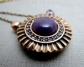 Art Deco Necklace . Egyptian Purple Sun (Last Piece)