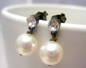Bridal Jewels Stud Earrings // White Swarovski Pearls // Rhinestone Brass Stud Earrings // Simple Earrings under 15