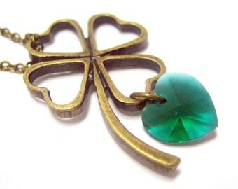 "Clover of Love Necklace // Brass Clover Charm // Green Swarovski Crystal Heart // 17"" Brass Chain // Good Luck Charm under 25"