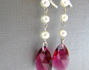Bridal Fuschia Pearl Drops Earrings // White Freshwater Pearls // Fuchsia Pink Swarovski Crystal Teardrops // Silver Clasp
