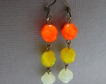 Lemon Meringue Pie Czech Glass Earrings // Yellow and Orange Glassbeads // Brass Earrings // Gift under 15