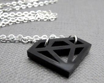 "Big Black Diamond Rock Necklace // Black Diamond Cutout Acrylic Charm // 17"" Silver Chain // Gift under 15"