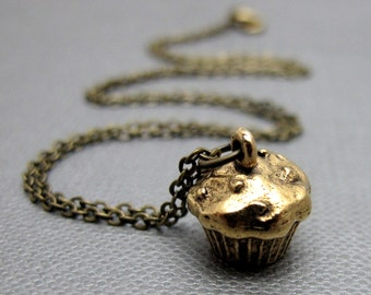 """Brass Cupcake Charm Necklace // Brass Solid 3D Cupcake Charm // 17"""" Brass Chain"""
