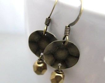 Tiny Hammered Brass Plate and Bead Earrings // Modern Chic Jewelry // Brass Dangle // GIft under 15
