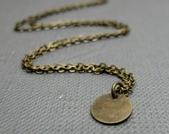 "Tiny Brass Circle Necklace // Modern Petite Jewelry // 17"" Brass Chain // Great for Layering // Gift under 15"