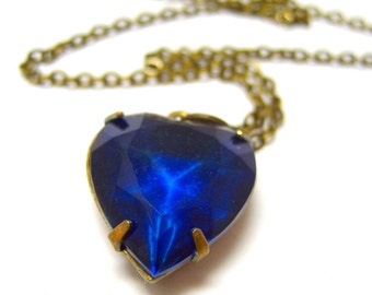 """My Royal Blue Heart Vintage Glass Necklace // Blue Vintage Glass Heart Brass Encased // 17"""" Brass Chain // Valentine Gift under 25"""