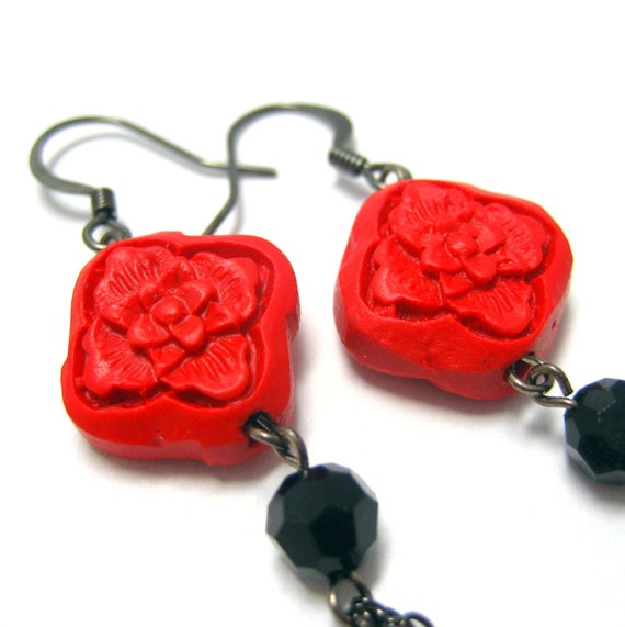 Cinnebar Earrings . Harmony Chinoise Chic (Last Piece)