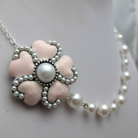 """Pink Heart Pearl Flower Necklace // Pink Flower with Pearl Center // White Swarovski Pearls // 16"""" Silver Bridal Necklace // Only Piece"""
