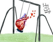 Today My Heart Swings ... 5x7 inch limited edition print by elloh