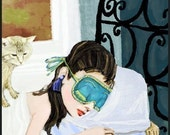 Holly gets her beauty sleep ... limited edition giclee art print • 11x14 • breakfast • tiffany's • golightly • audrey hepburn • film • gift