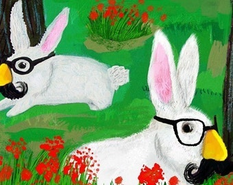 Large version ... Secret Agent Rabbits have your back ... limited edition art print
