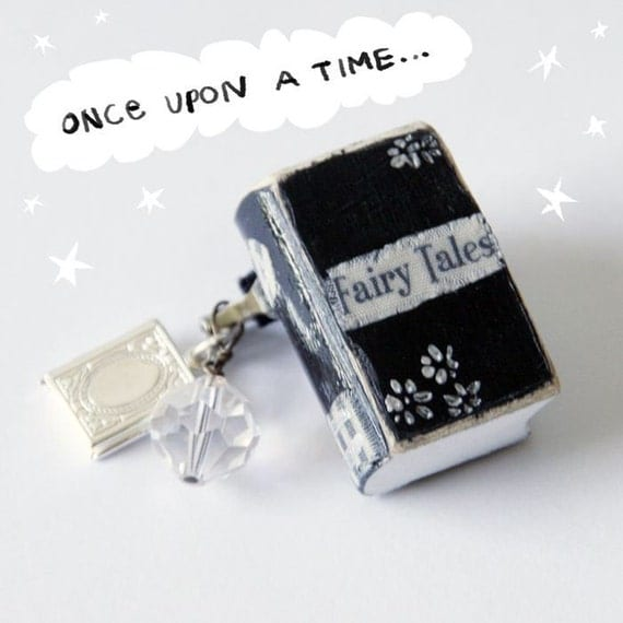 Fairy Tales ... handpainted mini wooden library book ...from the elloh public library ... one of a kind ... pin ... miniature collectible