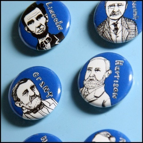 Presidential Facial Hair Hall of Fame ... strong one inch magnets ... complete set ... royal blue, white and black version
