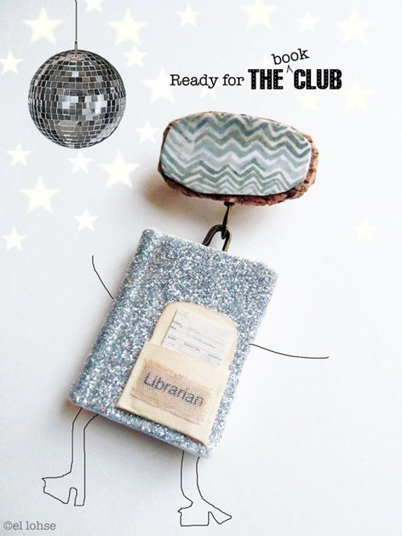 miniature glitter library book pin with handpainted embellishment ...Ode to the librarian ... for the book loving person
