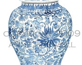 BLUE  and WHITE GINGER Jar Print