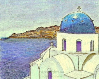 GREEK CHURCH - SANTORINI Print by Gray Harwell