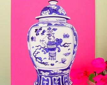 Ginger Jar no.2 on Pink Canvas 18x24