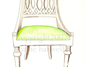 WHITE TRELLIS CHAIR Print
