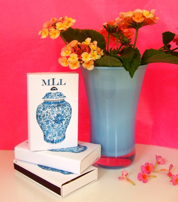 PERSONALIZED MONOGRAM MATCHBOXES with Ginger Jar Design
