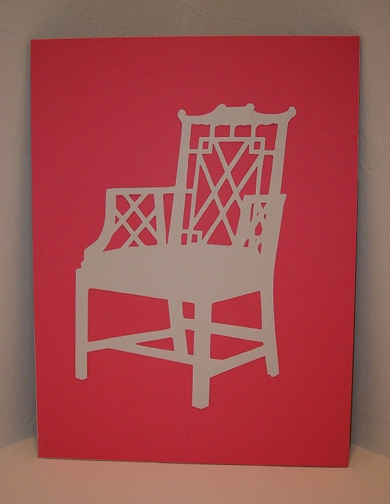 CHINOISERIE CHAIR SILHOUETTE COLLAGE ON GERANIUM PINK