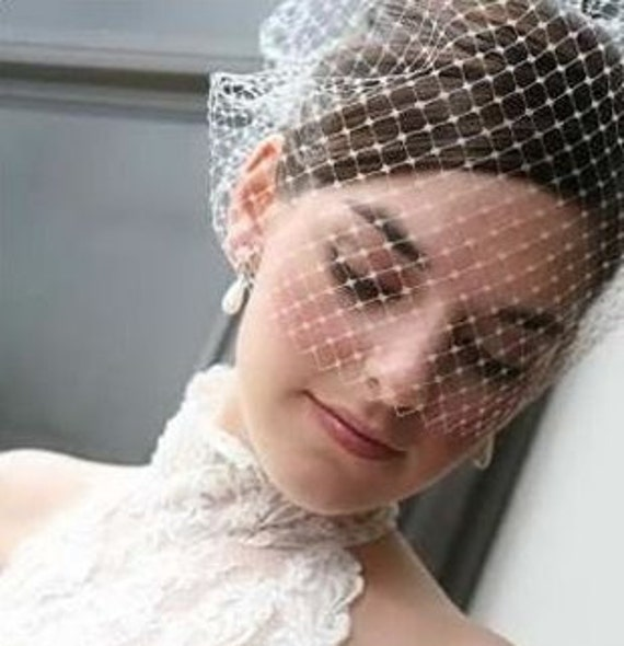 Make your own birdcage veil Kit- 1 Yard of Ivory 9 inch  French Netting  and Birdcage Veil Tutorial - Make Your Own Blusher Veil