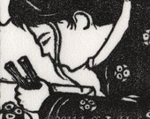 Girl eating sushi Heft linocut relief print original art ACEO