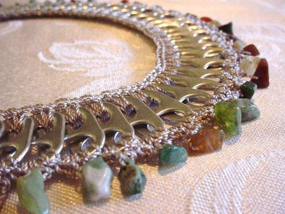 Pull Tab Necklace - Healing Stones Series -  Mixed Jasper