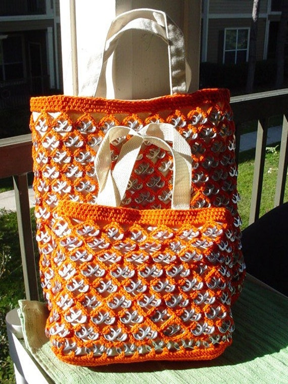 Orange Pull-Tab Crochet Totes - Large and Small