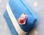 Iphone cute sleeve felt case sky blue ipod  heart flower