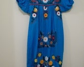 70's Vintage, Aqua Blue Mexican Dress or Trapeze Dress with Embroidery