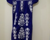 70's Vintage, Blue Mexican Dress or Trapeze Dress with White Embroidery