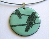 Birds on Wire - Enamel pendant (1.25 inch)