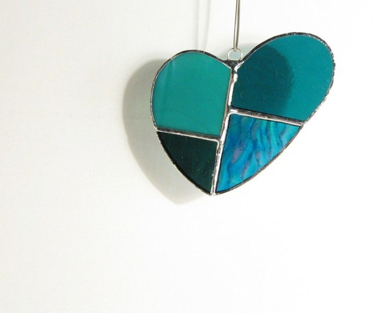 Stained Glass Teal Green Heart Suncatcher
