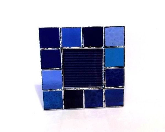 small picture frame in blue stained glass