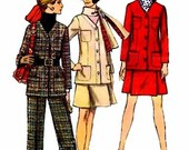 1960's Simplicity 8401 Womens Pattern Jacket Skirt Pants Suit Scarf Misses Vintage Sewing Pattern Size 10 Bust 32 1/2