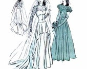1940's Butterick 4420 Bridal Gown Pattern Cascade Drapery Wedding Dress Vintage Sewing Pattern Bust 30