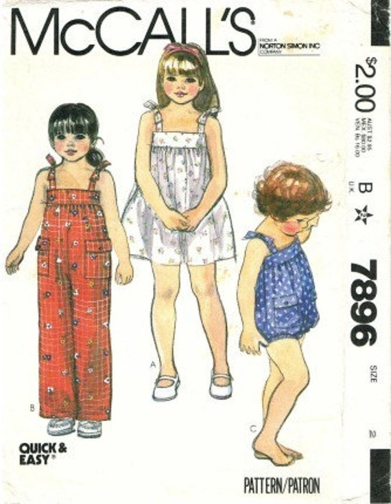 1980s Toddlers Dress Jumpsuit Romper McCalls 7896 Sewing Pattern Size 2