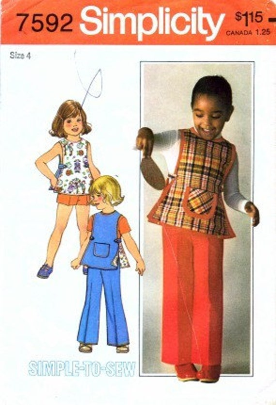 1970s Simplicity 7592 Girls Reversible Tunic Pants Shorts Childrens Vintage Sewing Pattern Size 4