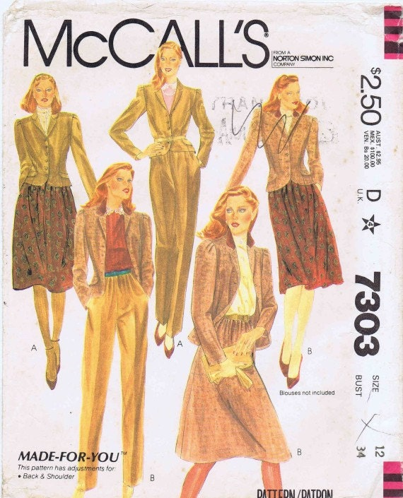 1980s McCalls 7303 Womens Lined Jacket Gathered Skirt Left Side Zipped Pants Suit Misses Vintage Sewing Pattern UNCUT