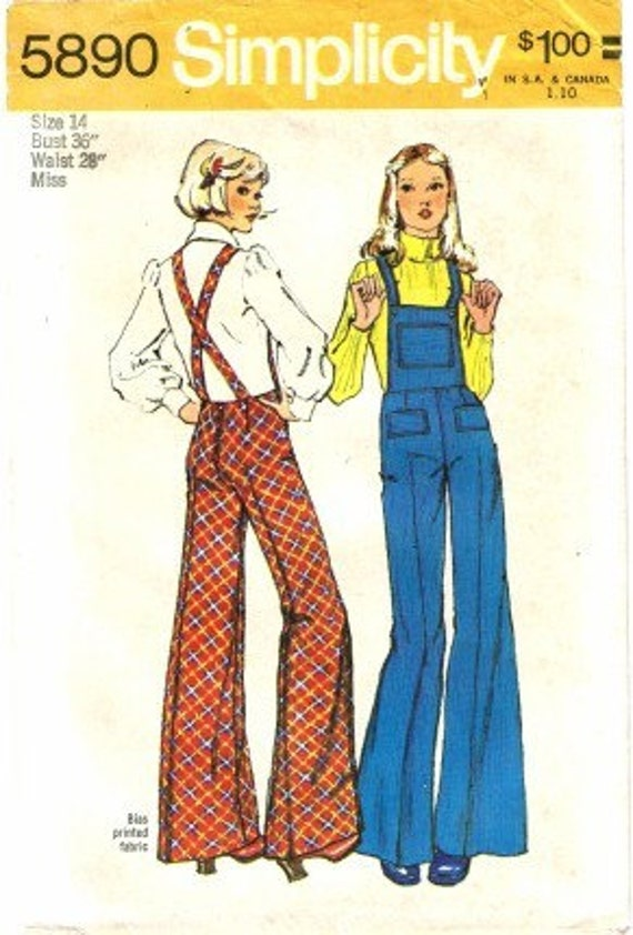 Vintage 1970's RETRO Misses Overalls Simplicity 5890 Sewing Pattern Size 14
