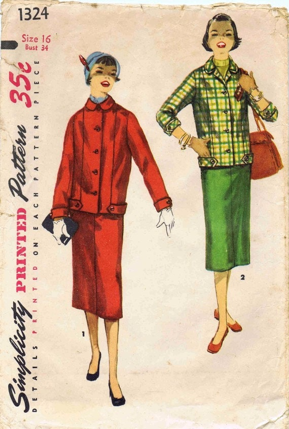 1950s Simplicity 1324 Pattern Womens Two-Piece Suit Jacket Skirt Teen Girls Misses Vintage Sewing Pattern Size 16 Bust 34
