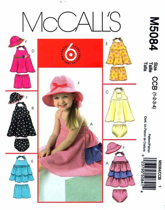 McCall's 5084 Toddlers Girls Dresses Tops Panties Shorts Hat Flared Skirt Ruffles Straps Childrens Sewing Pattern Size 1 - 2 - 3 - 4 Uncut